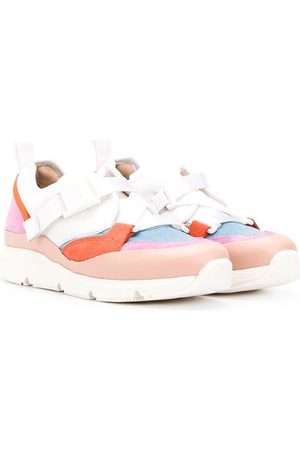 Chloé Contrast-panel cross-strap trainers
