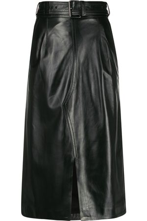 Marni Leather high-waisted midi skirt