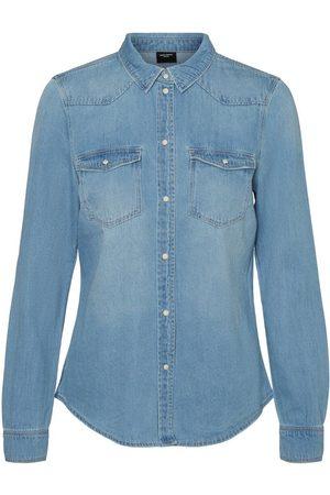 Vero Moda Dames Blouses - Lange Spijkerblouse Dames Blauw