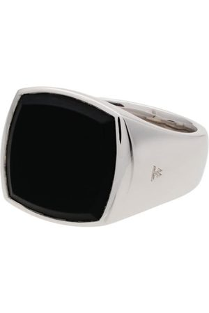 TOM WOOD Cushion onyx sterling signet ring