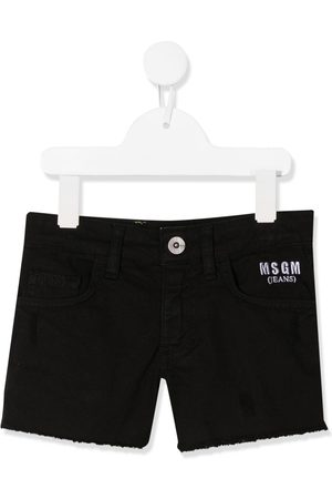 Msgm Embroidered logo denim shorts