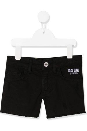 Msgm Meisjes Shorts - Embroidered logo denim shorts