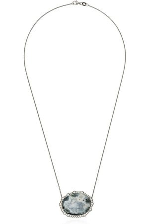 KIMBERLY MCDONALD 18kt diamond framed geode necklace