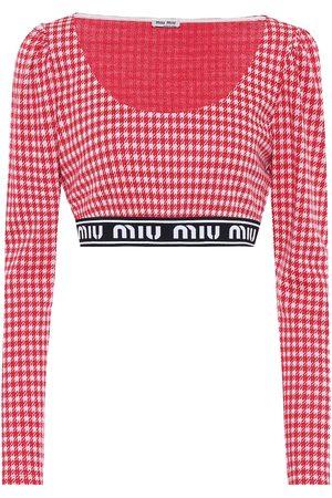 Miu Miu Houndstooth wool-blend crop top