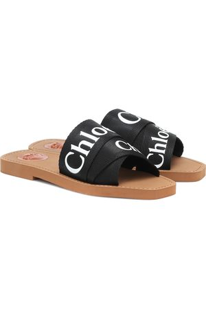Chloé Woody canvas slides