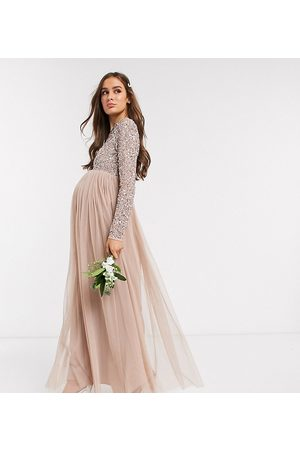 Maya Dames Lange jurken - Bridesmaid long sleeve maxi tulle dress with tonal delicate sequin overlay in taupe blush-Brown