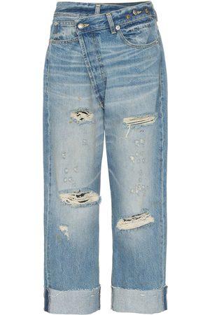 R13 Cross over waist distressed boyfriend jeans