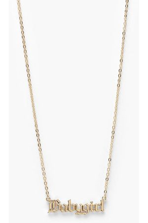 Boohoo Baby Girl Slogan Necklace