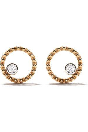 AS29 18kt yellow Mye round beading diamond earrings