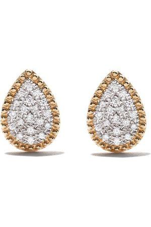 AS29 18kt yellow Mye pear beading pave diamond earrings