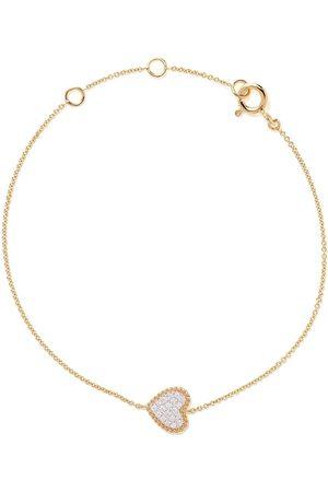 AS29 18kt yellow Mye heart beading pave diamond bracelet