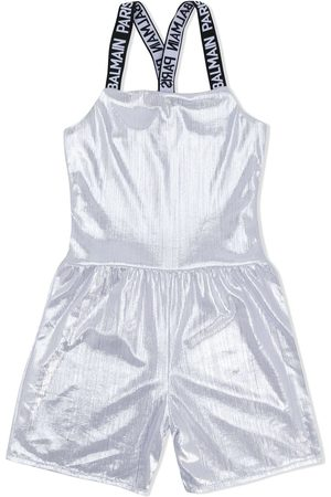 Balmain Criss cross logo strap playsuit