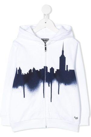 Il Gufo Skyline print zip-up hoodie