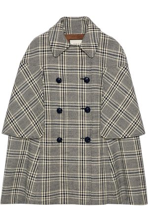Gucci Dames Donsjassen - Checkered double-breasted cape coat