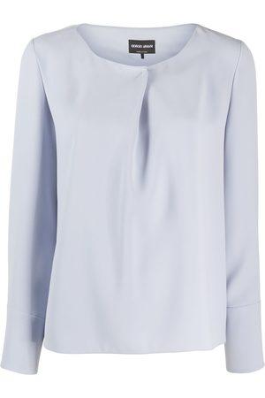 Giorgio Armani Pleated detail long-sleeved blouse
