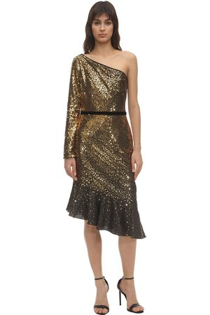 MARCHESA NOTTE Sequined One Shoulder Midi Dress
