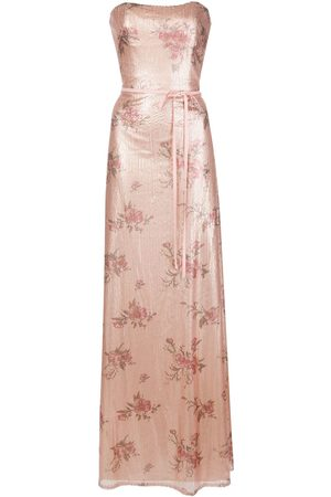 Marchesa Notte Floral-printed sequin gown