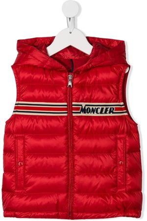 Moncler Kids Hooded knitted logo gilet