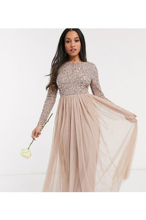 Maya Bridesmaid long sleeve v back maxi tulle dress with tonal delicate sequin in taupe blush-Brown