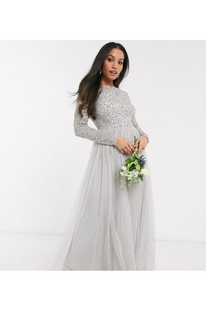 Maya Bridesmaid long sleeve v back maxi tulle dress with tonal delicate sequin in silver-Grey