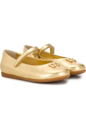 Dolce & Gabbana Kids Meisjes Ballerina's - Crystal-embellished logo ballerina shoes