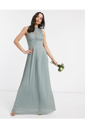 TFNC Bridesmaid lace back maxi dress in sage-Green