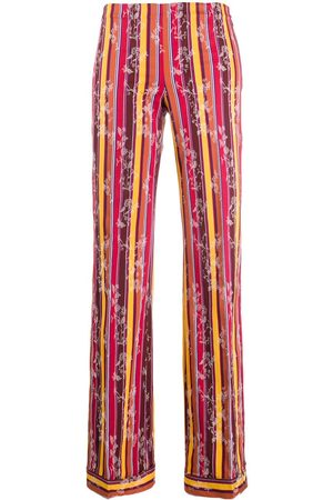 ROMEO GIGLI 1990s striped floral trousers