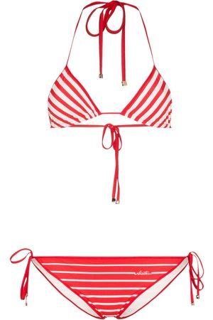 VALENTINO Stripe triangle bikini set