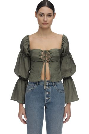 Cult Gaia Claire Draped Linen Shirt