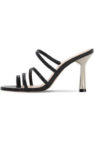 CARVELA KURT GEIGER 90mm Lizard Print Leather Thong Sandals