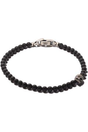 David Yurman Heren Armbanden - Spiritual Beads black onyx and silver skull bracelet