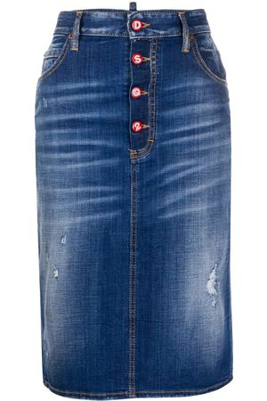 Dsquared2 Distressed denim pencil skirt