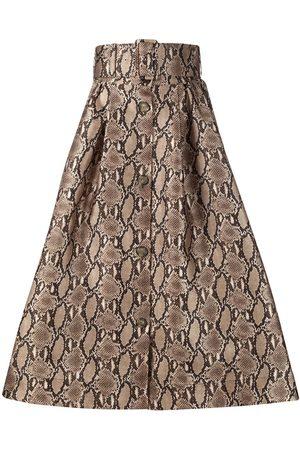 MSGM Belted-waist snakeskin-print midi skirt