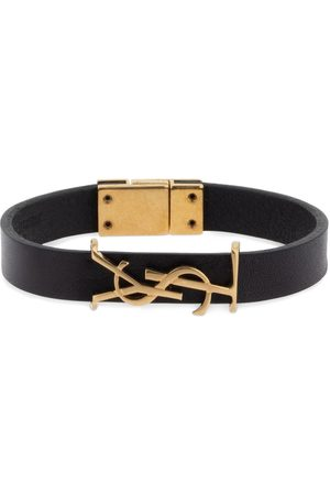 Saint Laurent Single Wrap Ysl Leather Bracelet