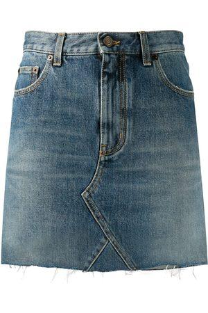 Saint Laurent Raw edge denim mini skirt