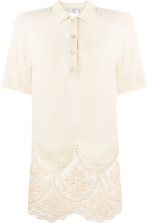 VALENTINO 1980s lace detail polo shirt