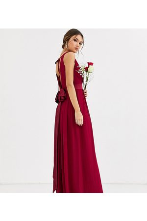 TFNC Bridesmaid maxi dress with bow back in mulberry-Red