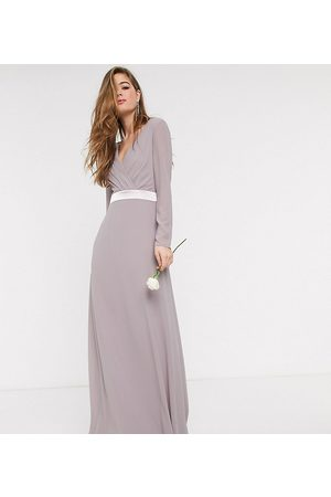 TFNC Bridesmaids long sleeve bow back maxi dress dress in grey