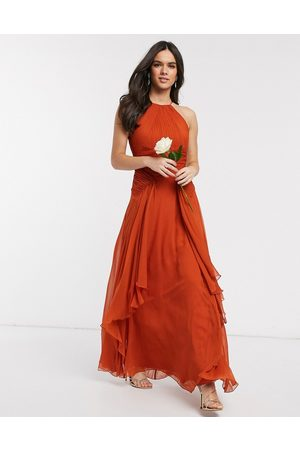 ASOS Bridesmaid pinny maxi dress with ruched bodice and layered skirt detail-Orange