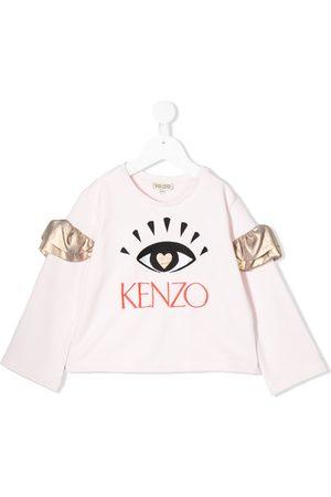 Kenzo Kids Ruffled sleeve eye embroidered sweatshirt