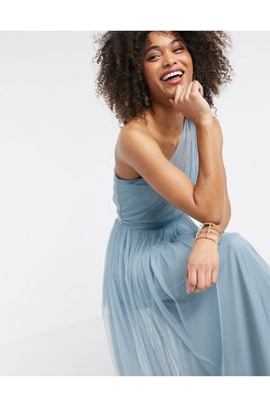ANAYA With Love tulle one shoulder maxi dress in ice blue