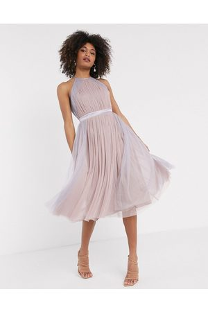 ANAYA With Love tulle halterneck dress with contrast stripe in multi