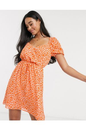 French Connection Lips and heart print mini dress in neon orange
