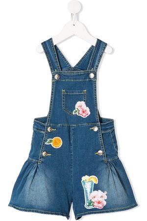 MONNALISA Meisjes Playsuits - Multi-patch denim overalls