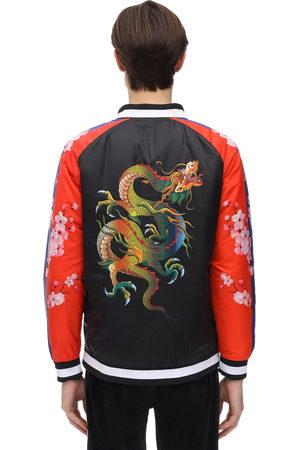 MINIMAL Color Block Dragon Print Bomber Jacket