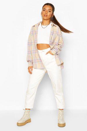 Boohoo Petite Geruit Oversized Overhemd Met Zakdetail