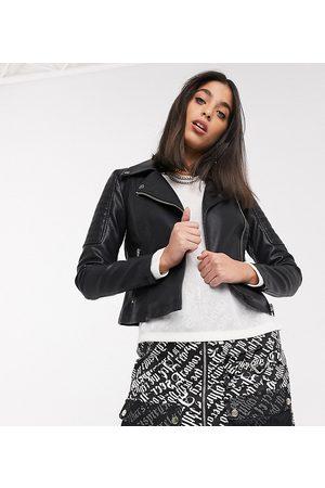 Noisy May Bikerjacks - Leather look biker jacket in black