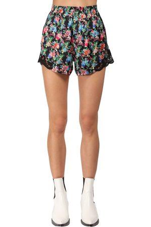 Paco rabanne Flower Print Light Satin & Lace Shorts