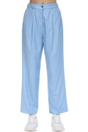Agnona Dames Wijde broeken - High Waist Wide Leg Wool Pants
