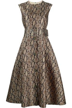 Msgm Belted snake-print dress